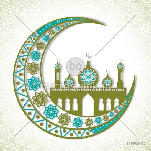 Beautiful floral design decorated crescent moon with creative mosque on stylish background for famous festival of Muslim community, Eid Mubarak celebration.