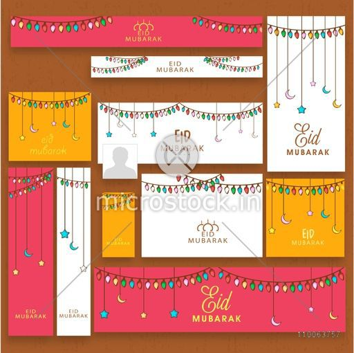 Stylish social media post, header or banner set with colorful lights, hanging moons and stars for famous festival of Muslim community, Eid Mubarak celebration.