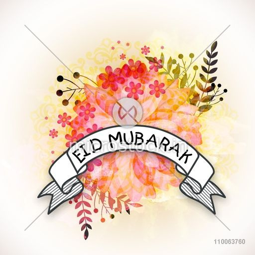Creative greeting card design decorated with beautiful flowers and white ribbon for Islamic famous festival, Eid Mubarak celebration.