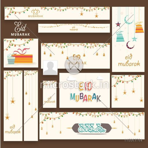 Stylish social media post, header or banner set decorated with Islamic elements for Muslim community festival, Eid Mubarak celebration.