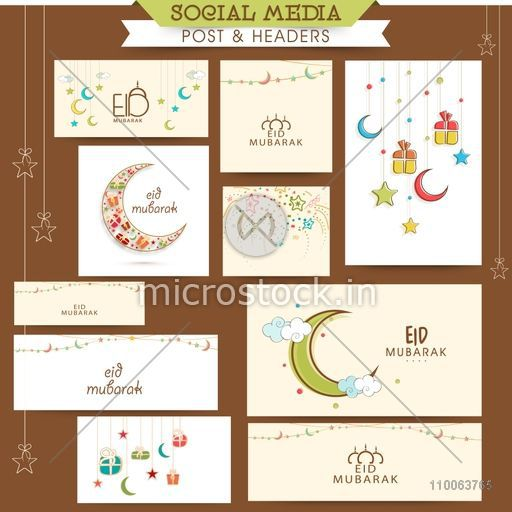 Stylish social media post, header or banner set decorated with crescent moon, gifts and stars for Islamic holy festival, Eid Mubarak celebration.