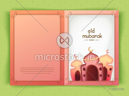 Beautiful greeting card design with creative mosque for holy festival of Muslim community, Eid Mubarak celebration.