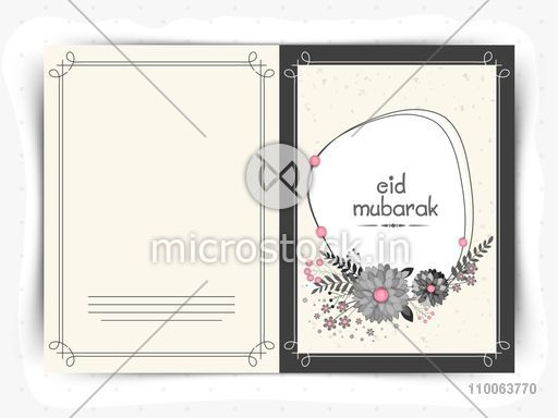 Beautiful floral design decorated greeting card for holy festival of Muslim community, Eid Mubarak celebration.