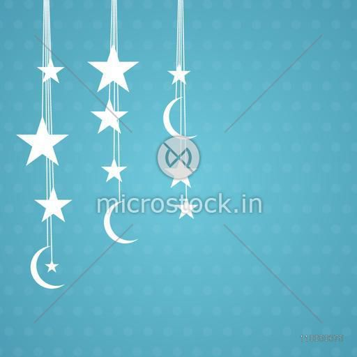 Illustration of  hanging furbelow decorated with stars, moons and pearl on skyblue background.