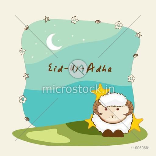Cute sheep on stylish background for Islamic Festival of Sacrifice, Eid-Ul-Adha celebration.