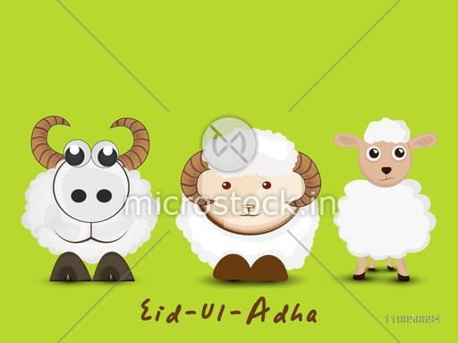 Illustration of three funny sheep with stylish text on green background.