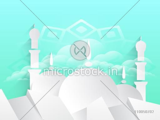Illustration of paper texture mosque on stylish background.