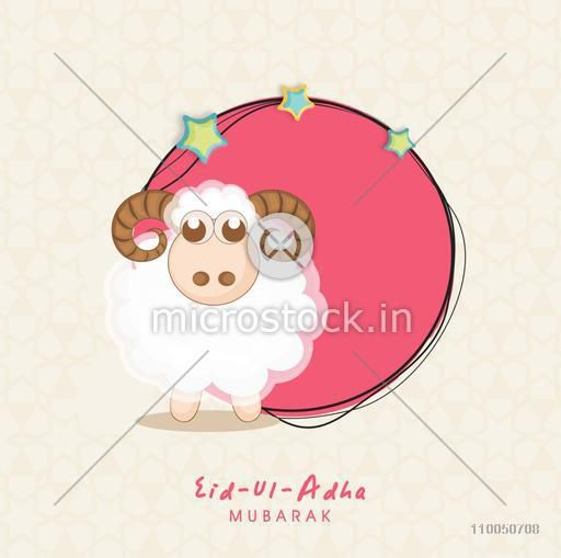 Illustration of a sheep and stars in pink frame with blank space for your message on floral decorated background with stylish text.