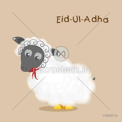 Illustration of a baby sheep with stylish text Eid-Ul-Adha on simple background.