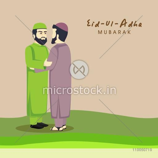 Religious Muslim Men hugging and wishing to each other on occasion of Islamic Festival, Eid-Ul-Adha celebration.