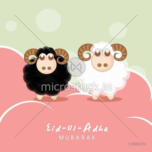 Illustration of one black and one white sheep standing on pink surface with stylish text.