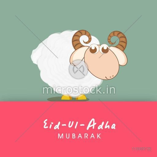 Illustration of a kiddish sheep with rounded horns and stylish text.