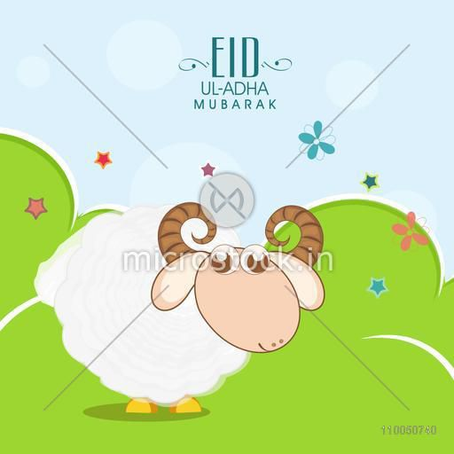 Illustration of a sheep with rounded horns standing on meadow with stars, flowers and stylish text on sky blue background.