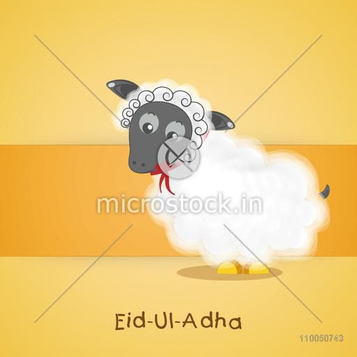 Illustration of a baby sheep with stylish text on dark yellow background.