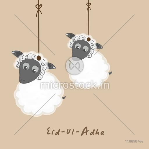 Illustration of two hanging sheep with stylish Eid-Ul-Adha text.