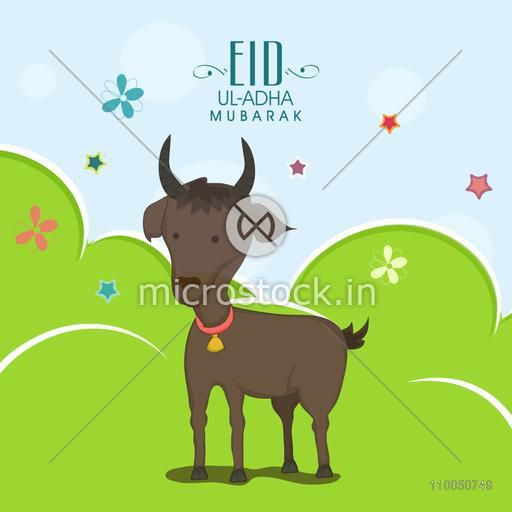 Illustration of a goat wearing bell on its neck and standing on meadow with stars, flowers and stylish text on seamless background.