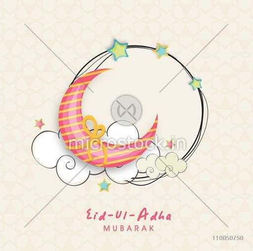 Illustration of a colourful binding moon infront of sky with frame decorated with stars and stylish text on seamless background.