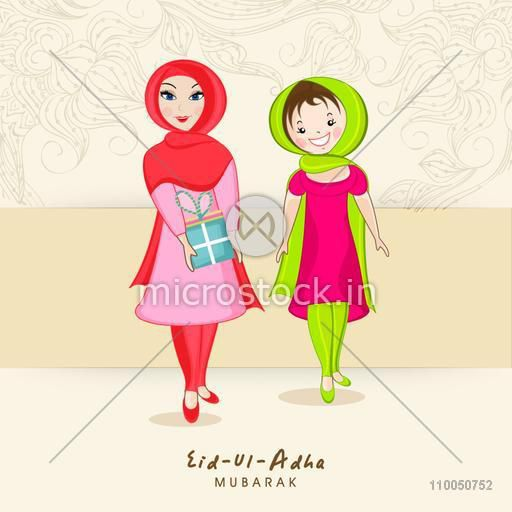 Illustration of two smiling muslim girls wearing hizab from their heads and holding gift with stylish text on floral decorated background