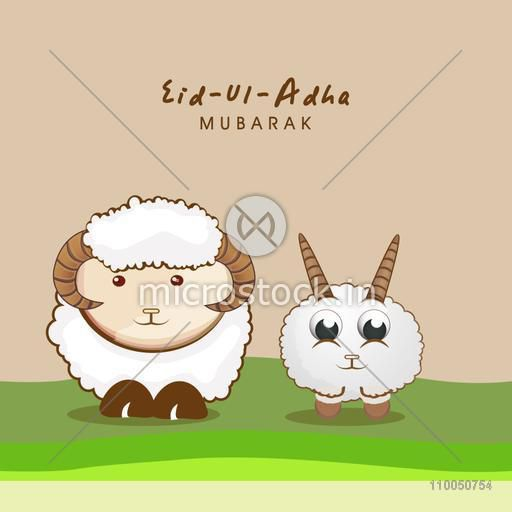 Illustration of one big and one baby sheep standing on green meadow with stylish text Eid-Ul-Adha Mubarak.