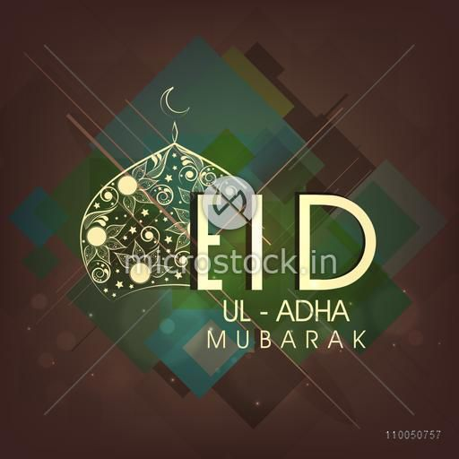 Illustration of upper part of mosque decorated with flowers with stylish text Eid-Ul-Adha on seamless dark background.