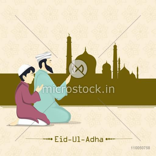 Illustration of a father with his son offering Namaz infront of the mosque with stylish text on floral decorated background.