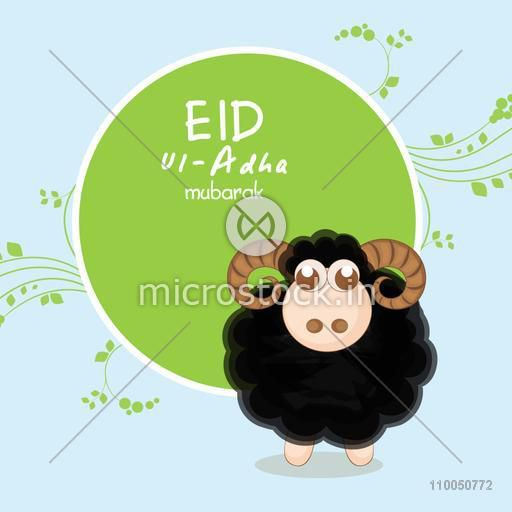 Illustration of a black sheep with brown horns and a rounded frame with stylish text on flower decorated background.