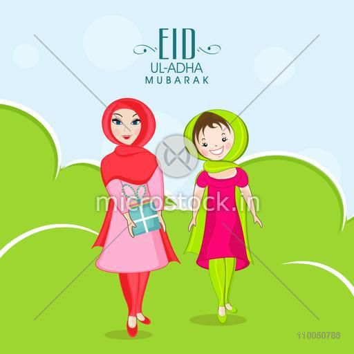 Illustration of two muslim girls, one girl is holding gift and standing on meadow with stylish text stylish background.