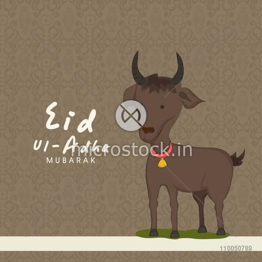 Illustration of a brown goat wearing golden bell with stylish text Eid-Ul-Adha on seamless background.
