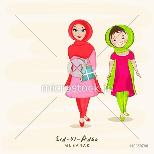 Beautiful cute two muslim girls wearing colorful clothes and one girl holding a gift on grungy background.