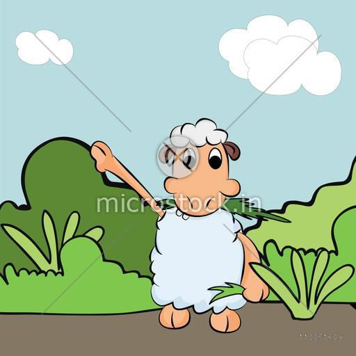 Illustration of kiddish sheep holding grass in its hand on nature view.