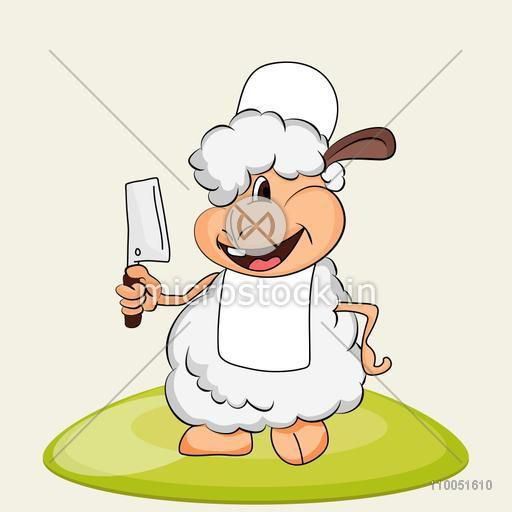 Illustration of a smiling sheep wearing apron and cap with a chopper holding in its hand.