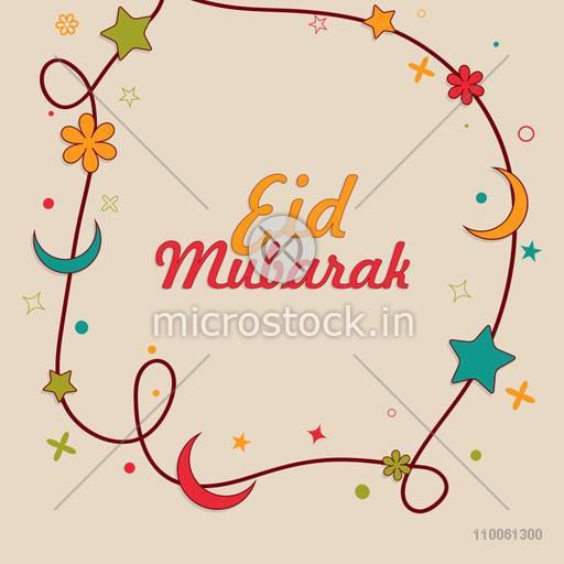 Muslim community festival, Eid Mubarak celebration greeting card decorated by colorful moons, stars and flowers.