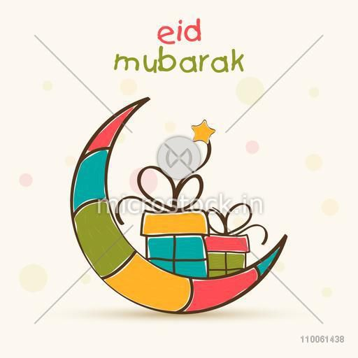 Muslim community festival, Eid Mubarak celebration greeting card with colorful creative moon and gifts.