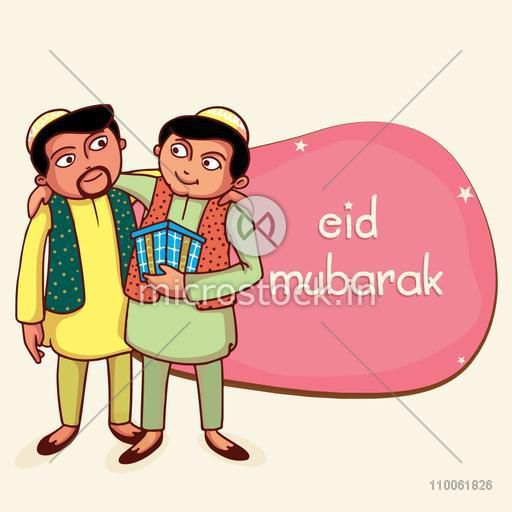 Young Muslim men in traditional dress wishing each other and giving gift on occasion of Islamic festival, Eid Mubarak celebration.