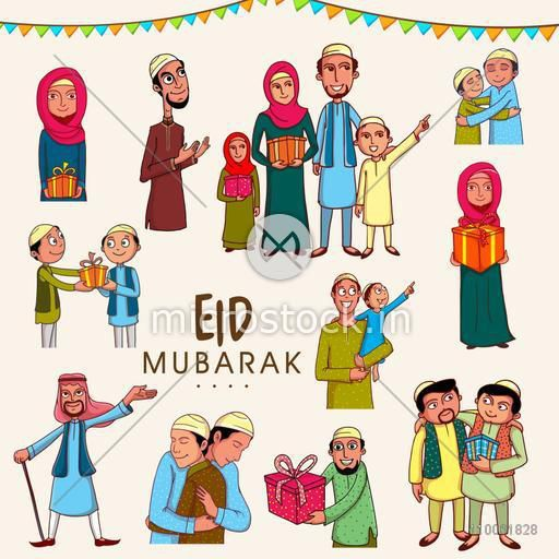 Set of Muslim people in traditional clothes following their rituals on occasion of Islamic festival, Eid Mubarak celebration.
