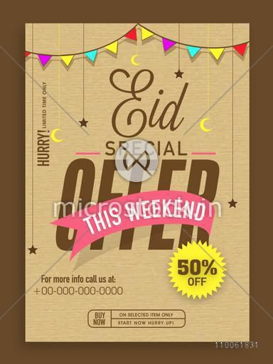 Eid Special Offer template, banner, or flyer design decorated with colorful bunting, moons and stars.