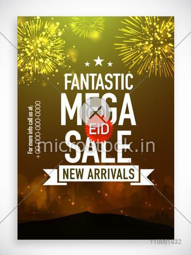 Mega Sale poster, banner or flyer decorated with fireworks and Mosque silhouette on occasion of Muslim community festival, Eid celebration.