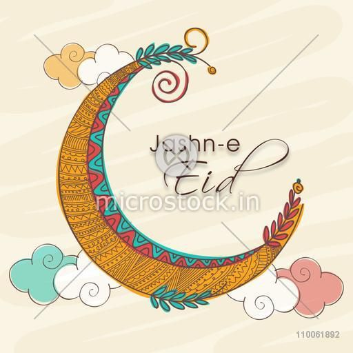 Jashn-e-Eid celebration greeting card with colorful creative moon on clouds decorated background.
