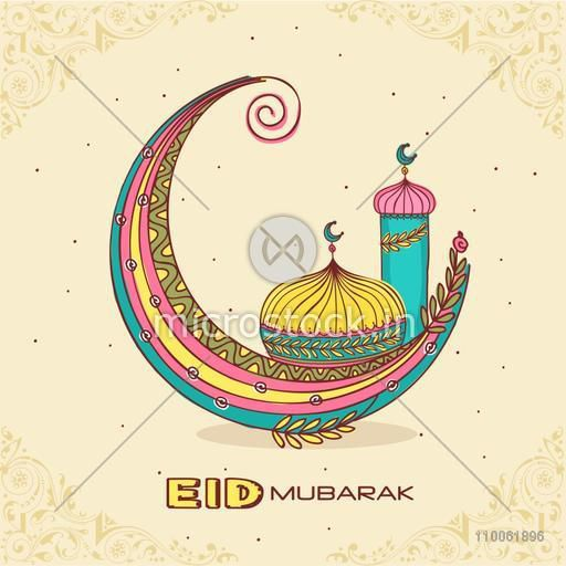 Colorful creative crescent moon with islamic mosque or masjid for muslim community festival, Eid Mubarak celebration.