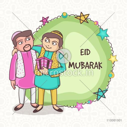 Illustration of muslim men celebrating and hugging to each other on occasion of Eid Mubarak celebration.