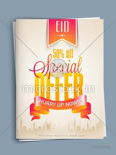 Mosque silhouette decorated beautiful special offer template or flyer design with 50% discount for Muslim community festival, Eid celebration.