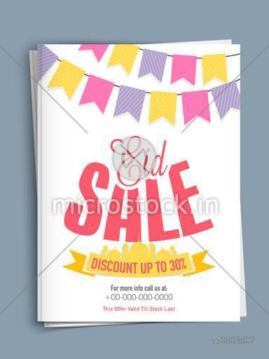 Eid sale template or flyer presentation decorated with mosque ribbon and colorful buntings on shiny background.