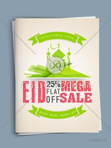 Creative mosque decorated template or flyer design of mega sale with flat discount offer for Muslim community festival, Eid celebration.