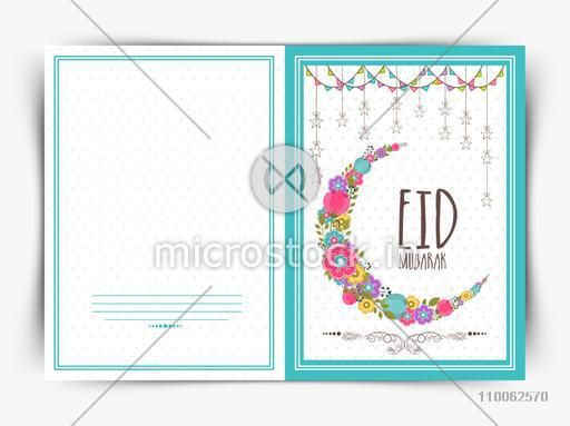 Elegant greeting card design with colorful flowers decorated crescent moon and hanging stars for Muslim community festival, Eid celebration.