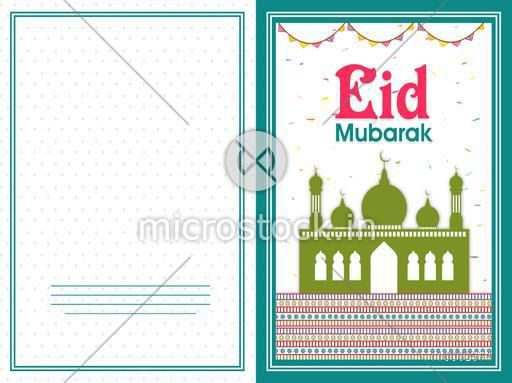 Muslim community festival, Eid Mubarak celebration greeting card design decorated with mosque on colorful buntings decorated background.