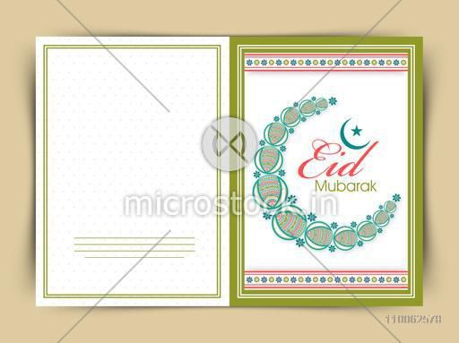 Beautiful greeting card decorated with floral crescent moon for Muslim community festival, Eid celebration.
