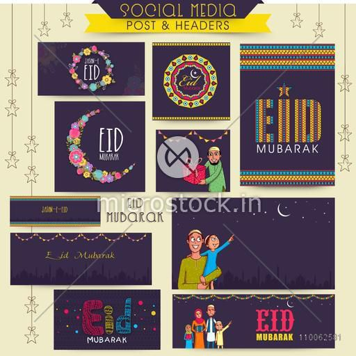 Social media posts, header or banner with various Islamic elements for Muslim community festival, Eid celebration.