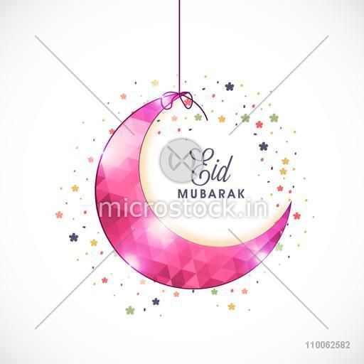 Glossy pink hanging crescent moon on colorful flowers decorated background for Muslim community festival, Eid celebration.
