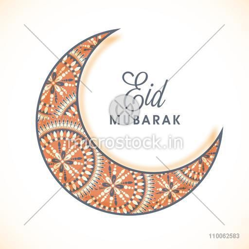 Beautiful floral design decorated crescent moon on shiny background for Muslim community festival, Eid celebration.