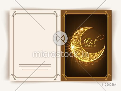 Beautiful greeting card design decorated with floral golden moon for Muslim community festival, Eid celebration.